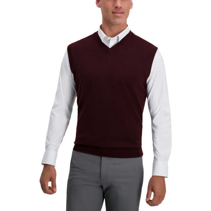 V-Neck Basic Sweater Vest, Dark Red