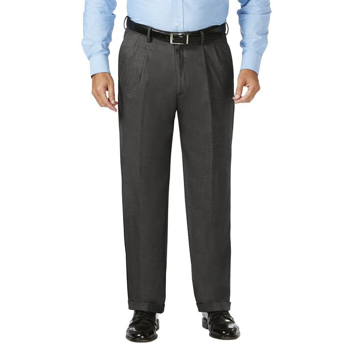 Big & Tall J.M. Haggar Dress Pant - Sharkskin, Dark Heather Grey