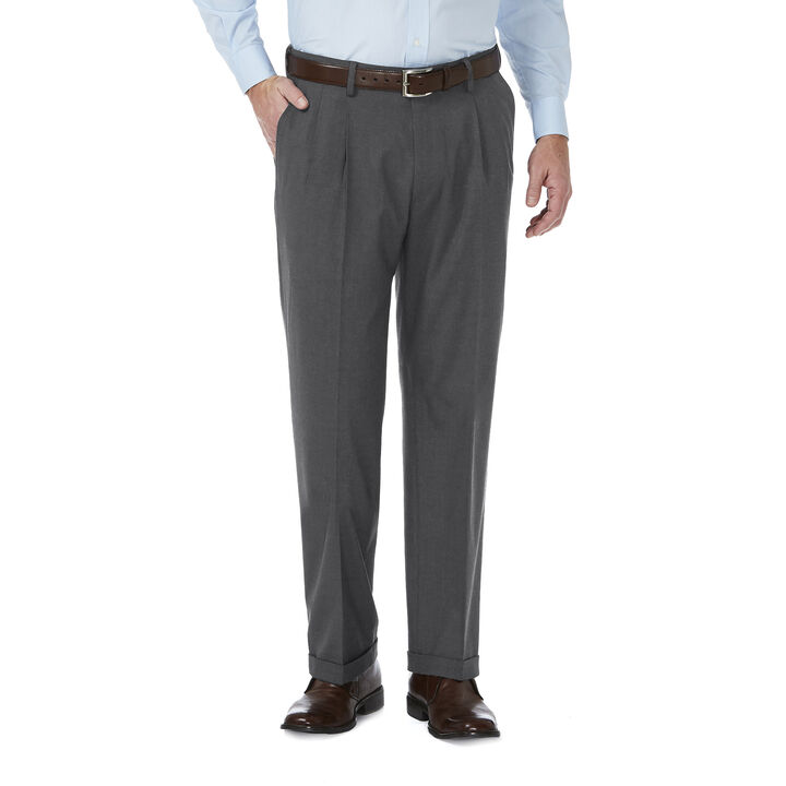 J.M. Haggar Premium Stretch Suit Pant - Pleated Front, Medium Grey