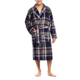 Printed Fleece Robe, Heather Blue
