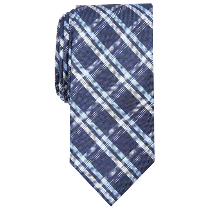 Grid Plaid Tie, Navy