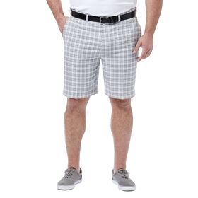 Big & Tall Cool 18® Pro Mini Plaid Short, Grey