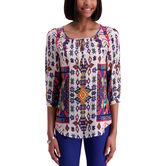 3/4 Sleeve Blouse w/ Beading, Carribean 1