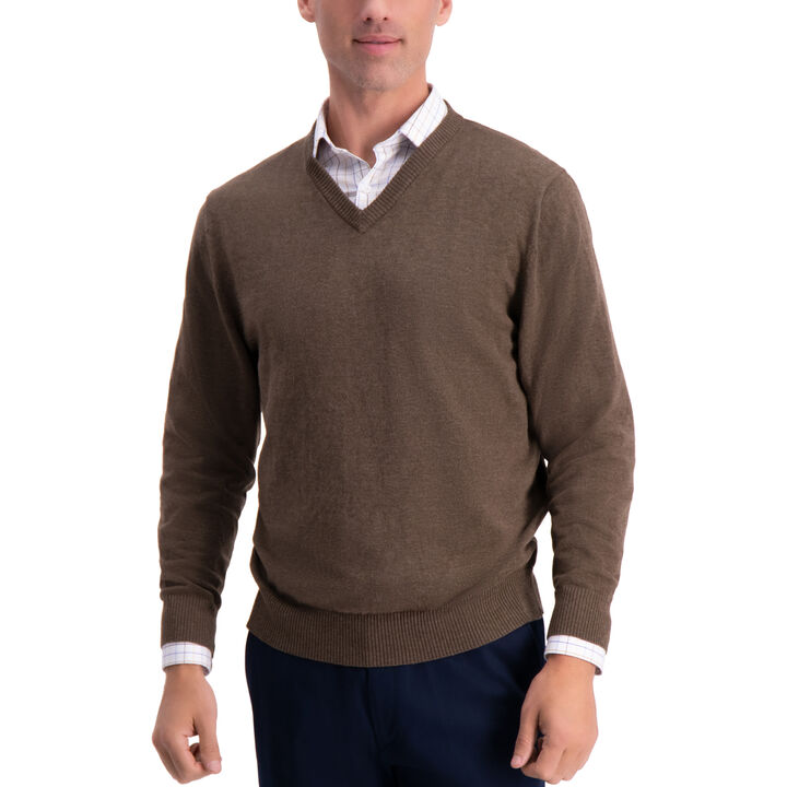 V-Neck Sweater, Dark Brown
