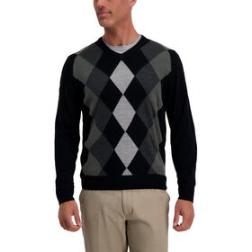 Argyle V-Neck Sweater, Black