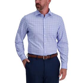 Blue Windowpane Premium Comfort Dress Shirt, Medium Blue
