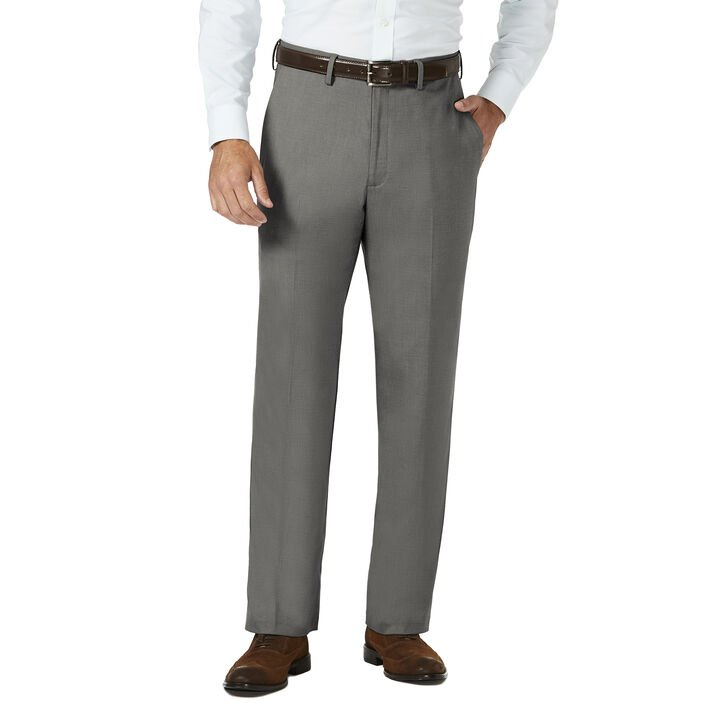 J.M. Haggar Dress Pant - Sharkskin, Medium Grey open image in new window