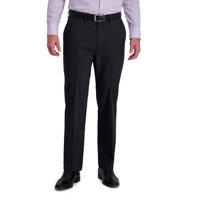 J.M. Haggar 4-Way Stretch Dress Pant - Sharkskin Windowpane, Black / Charcoal