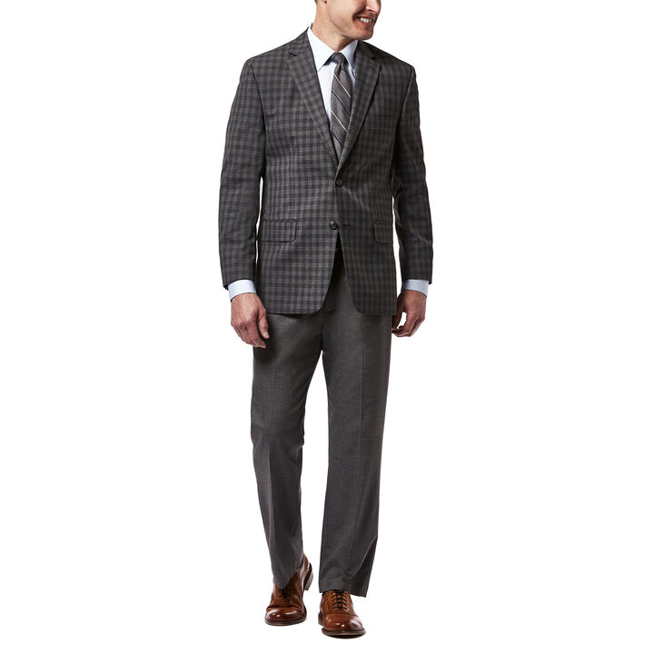 Haggar Check Sport Coat, Heather Grey open image in new window