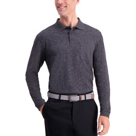 Heather Solid Knit Polo, Black