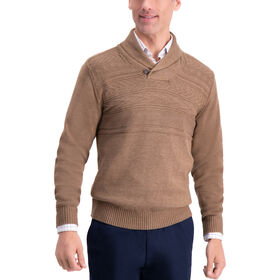 Texture Shawl Collar Sweater, Rust / Copper