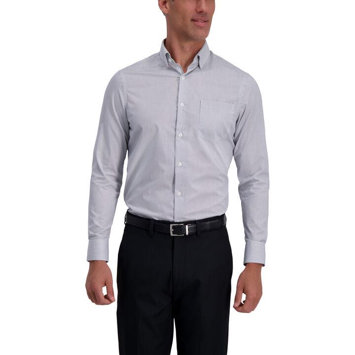 Grey Striped Premium Comfort Dress Shirt, Dark Grey