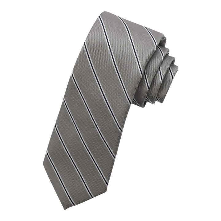 Wide Stripe Tie,  Silver