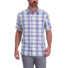 Exploded Plaid Microfiber Shirt, Blue Tattoo