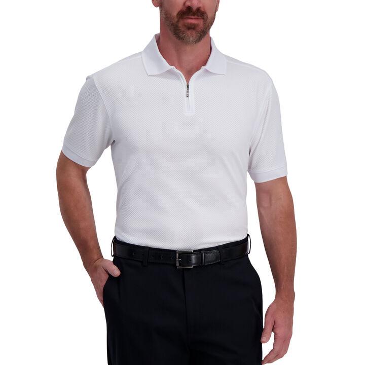 Quarter Zip Waffle Textured Polo, White