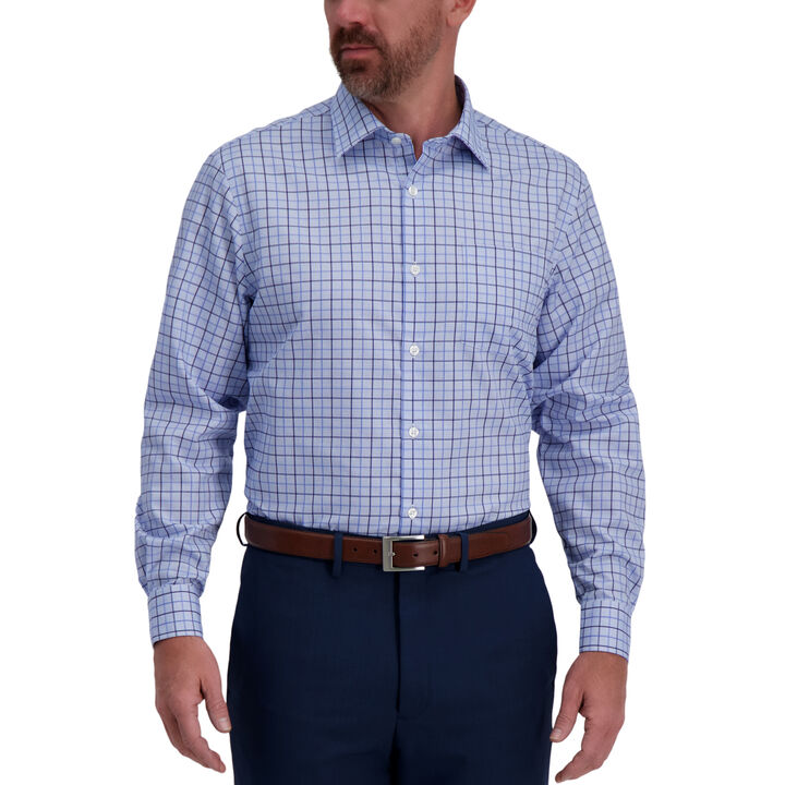 Light Blue Windowpane Premium Comfort Dress Shirt, Sky