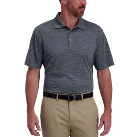 Space Dye Golf Polo, Black Marl