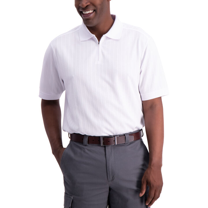Waffle Golf Polo, White open image in new window