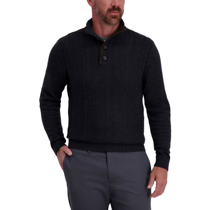 Herringbone Button Mock Neck Sweater, Dark Grey
