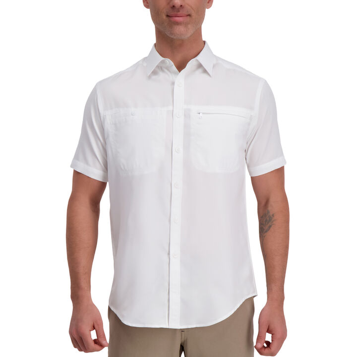 Solid Short Sleeved Shirt, White