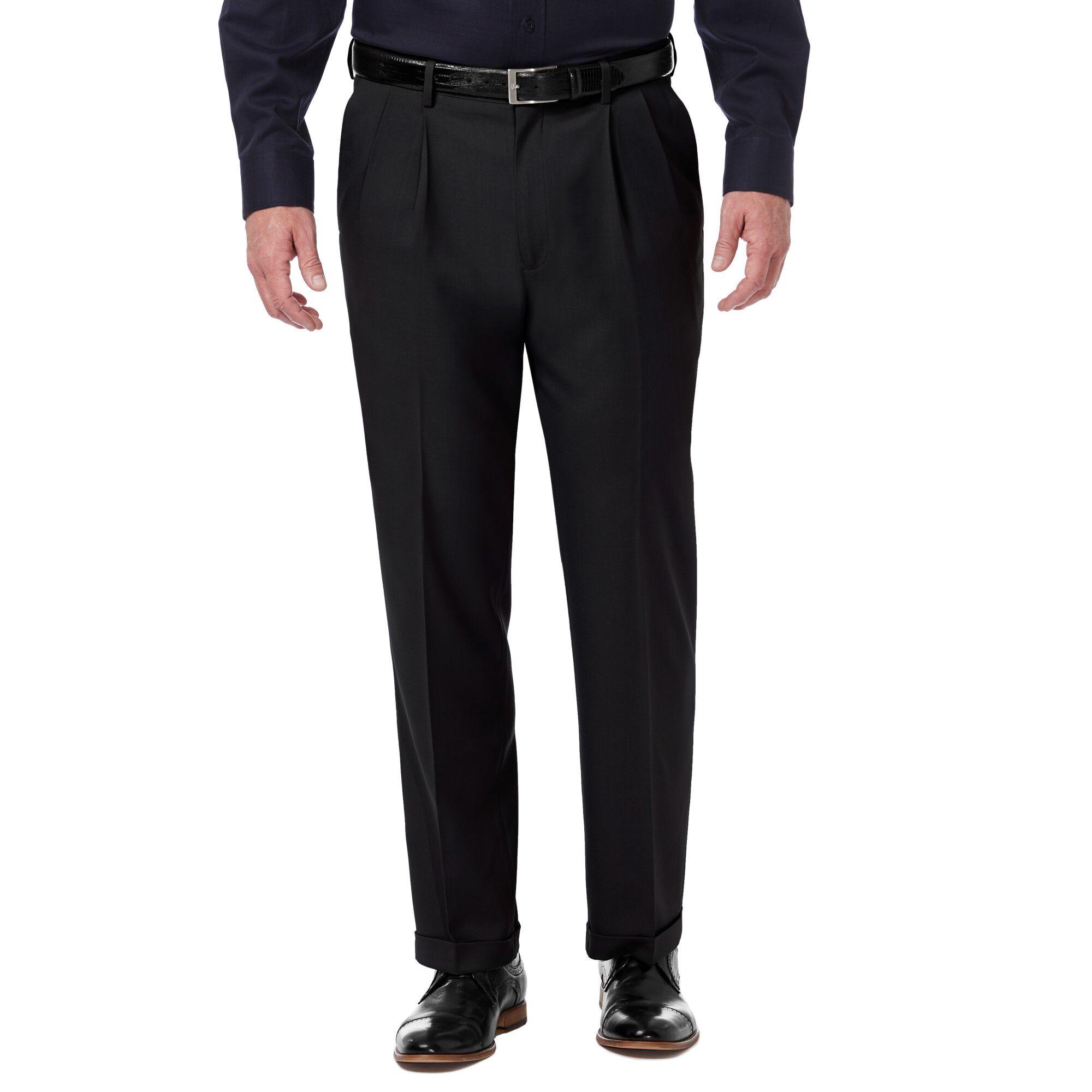 Haggar Mens Premium Comfort Straight Fit Flat Front Dress Pant