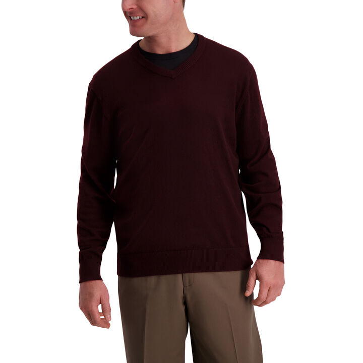 Basic V-neck Sweater, Sangria