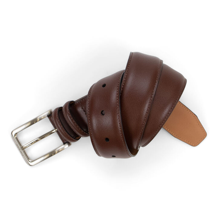 Dress Leather Doule Loop Belt - Brown, Khaki