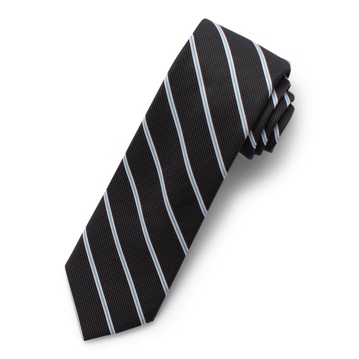 Wide Stripe Tie, Black