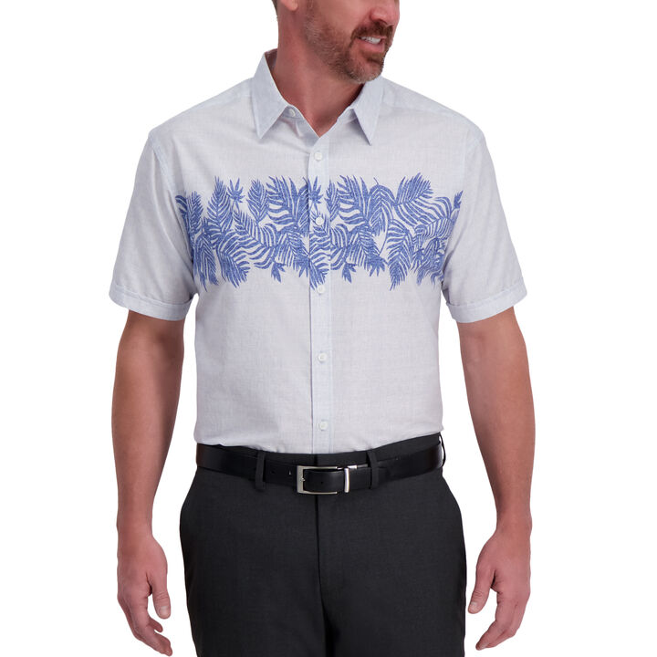 Blue Palm Cotton Shirt, Oxford Blue