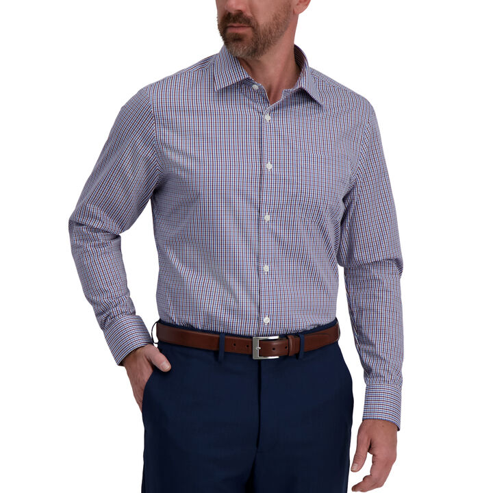 Medium Blue Check Premium Comfort Dress Shirt, Medium Blue