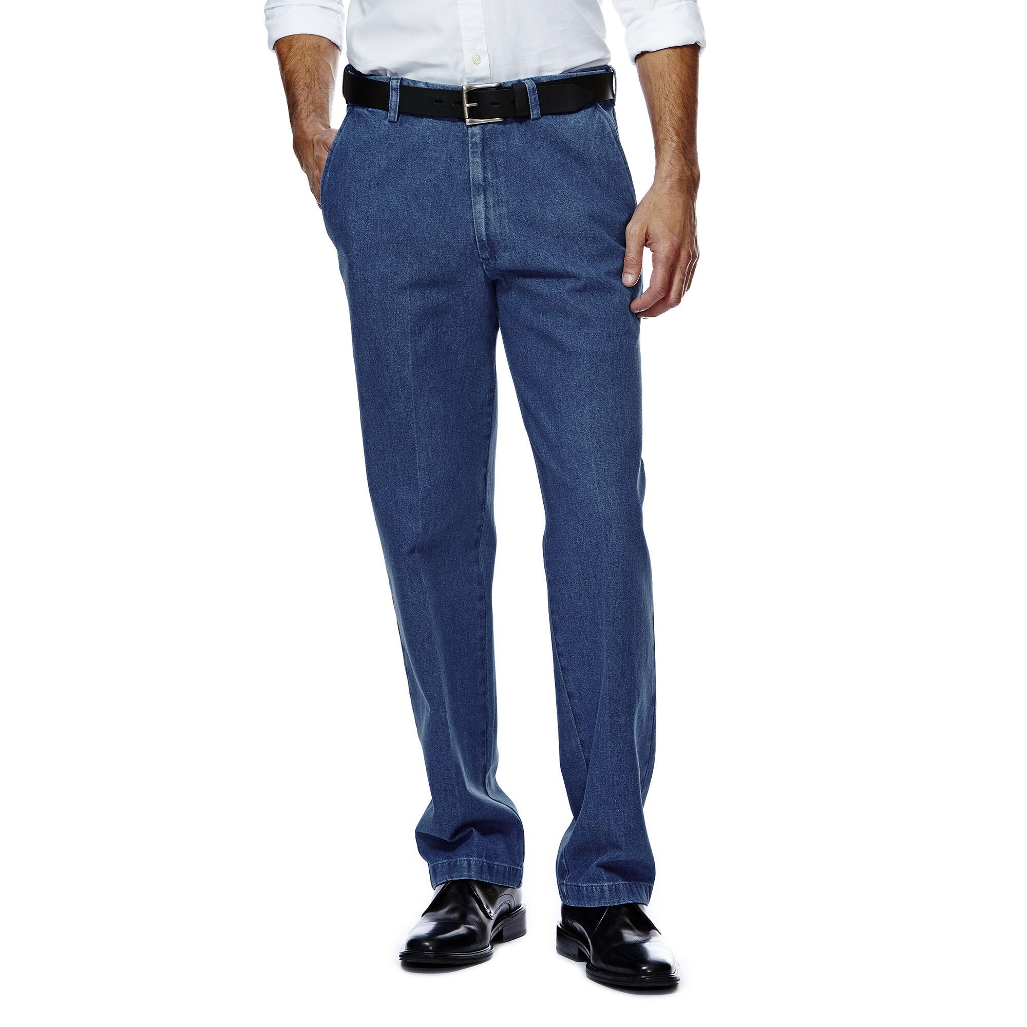 Haggar Men/'s Stretch Denim Expandable Waist Classic Fit Flat Front Pant