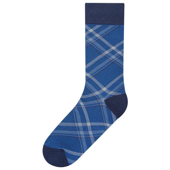 Bias Plaid Sock, Navy