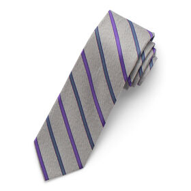 Heather Striped Tie, Purple