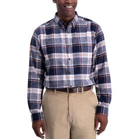 Herringbone Plaid Shirt, Navy