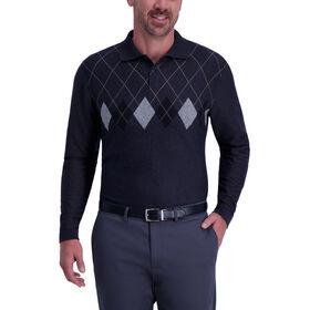 Argyle Chest Stripe Polo, Black / Charcoal