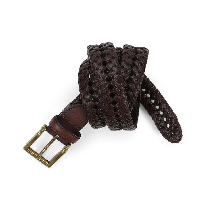 Leather Braid Belt, Brown