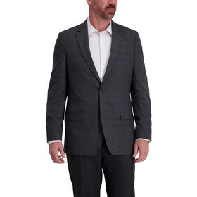 J.M. Haggar Textured Glen Plaid Sport Coat, Charcoal Heather