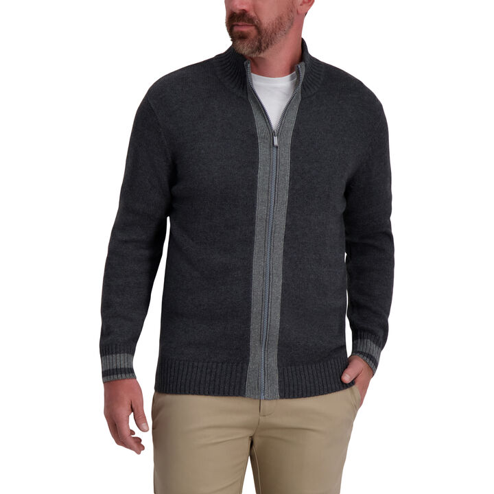 Full Zip Contrast Sweater, Iron Hthr