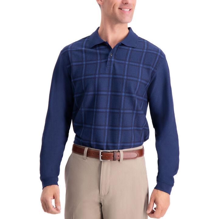Windowpane Long Sleeve Knit Polo, Loondon Blue