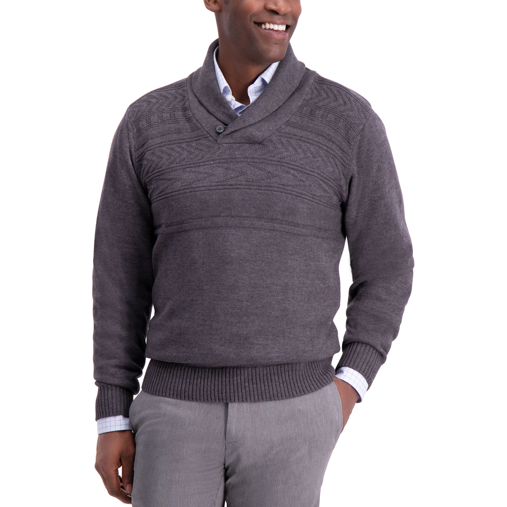 54326633d Texture Shawl Collar Sweater
