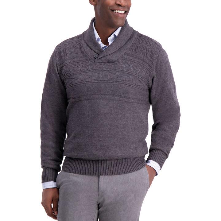 Texture Shawl Collar Sweater, Iron Hthr