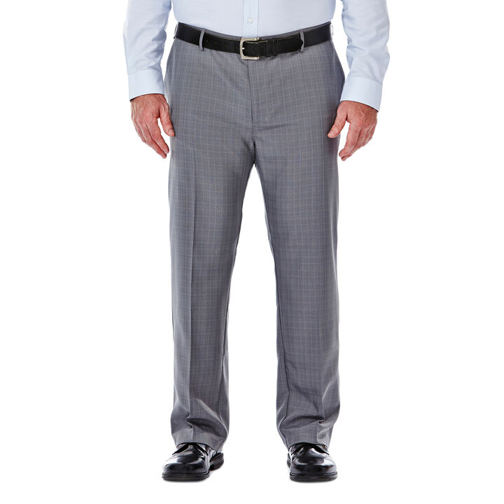 Big & Tall Performance Microfiber Slacks, Micro Plaid,