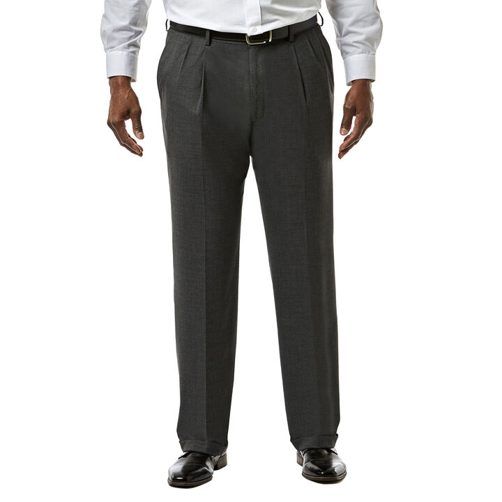 Big & Tall J.M. Haggar Premium Stretch Suit Pant - Pleated Front, Dark Heather Grey open image in new window