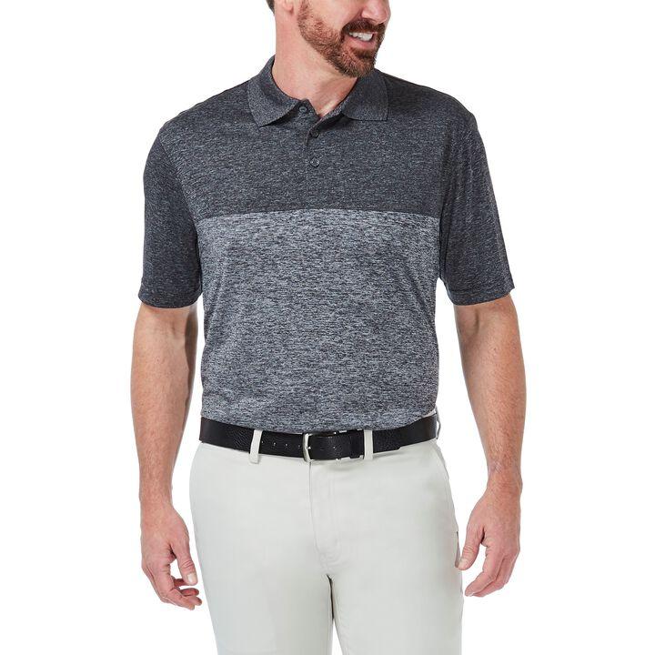 Cool 18® Block Space Dye Polo Shirt, Black Marl