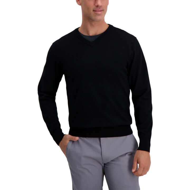 V-Neck Basic Sweater, Black