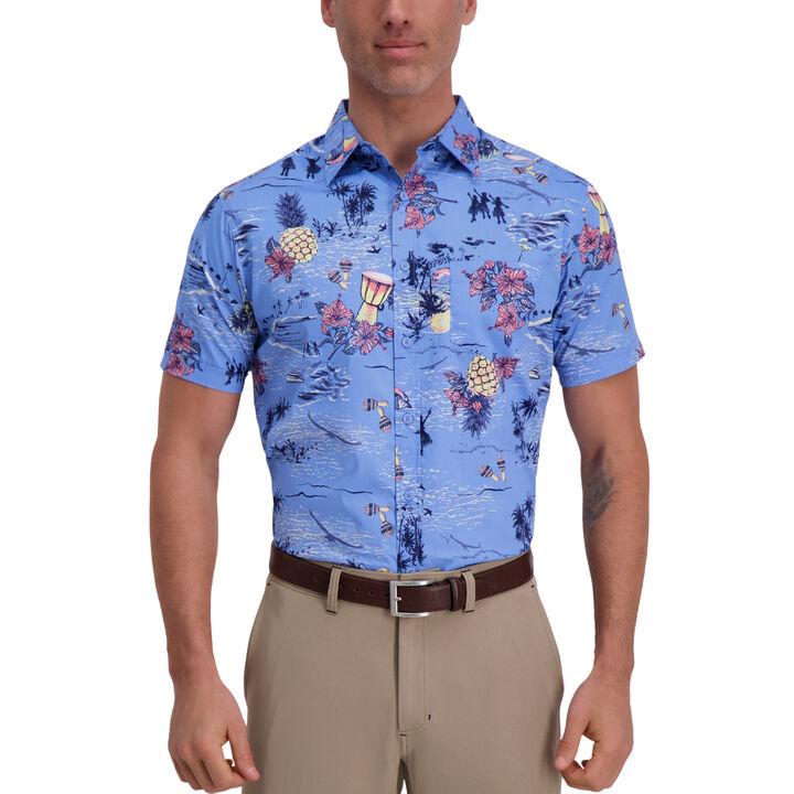 Hula Pineapple Floral Shirt, Delta Blue open image in new window