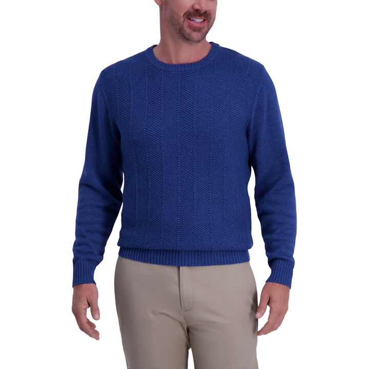 Solid Texture Crewneck Sweater, Navy