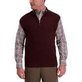 Contrast Quarter Zip Vest, Merlot Heather 1