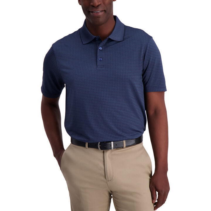 Diagonal Allover Polo, Admiral Blue