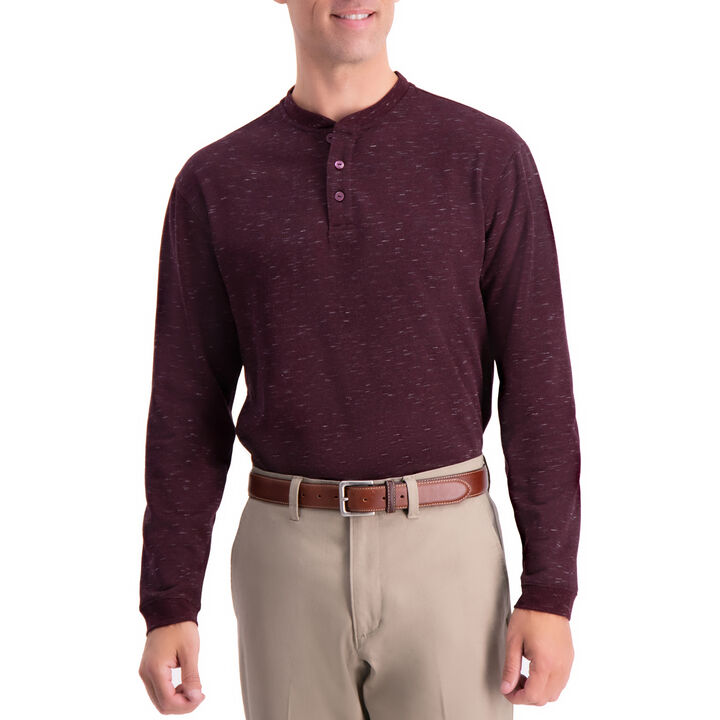 Space Dye Henley Shirt, Dark Red